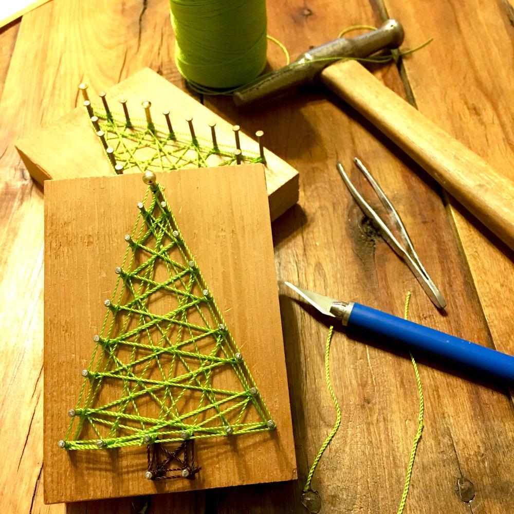 Reclaimed Christmas String Art Ornaments