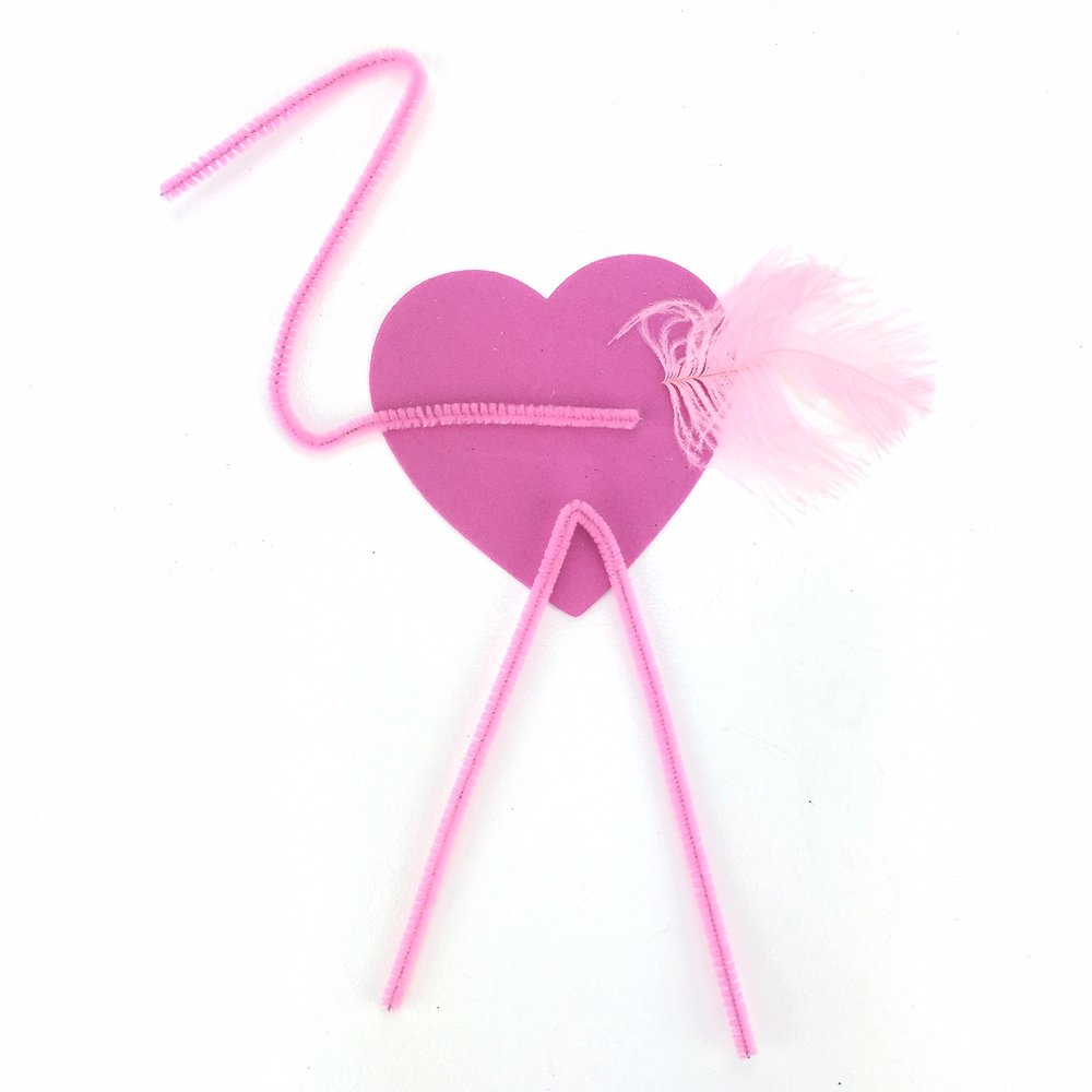 fold one pipe cleaner in half for the legs, and form the other in to an Z shape for the neck of the flamingo