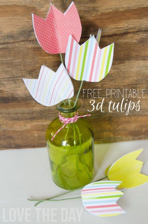 Paper Tulips from Love the Day free easter printables