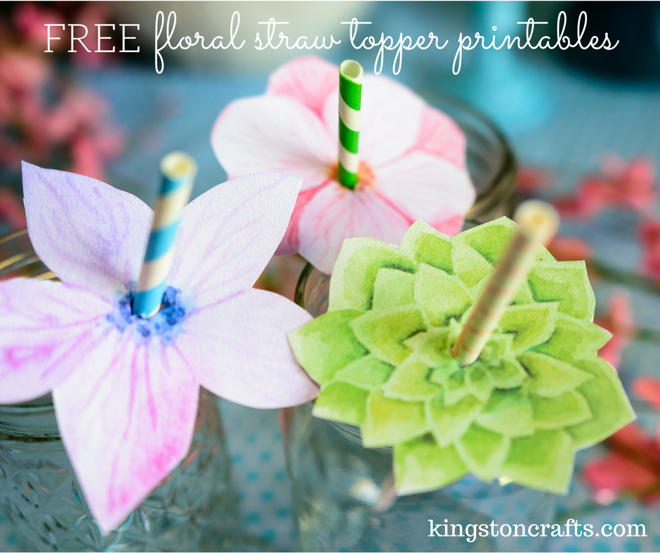 Free floral straw topper printables