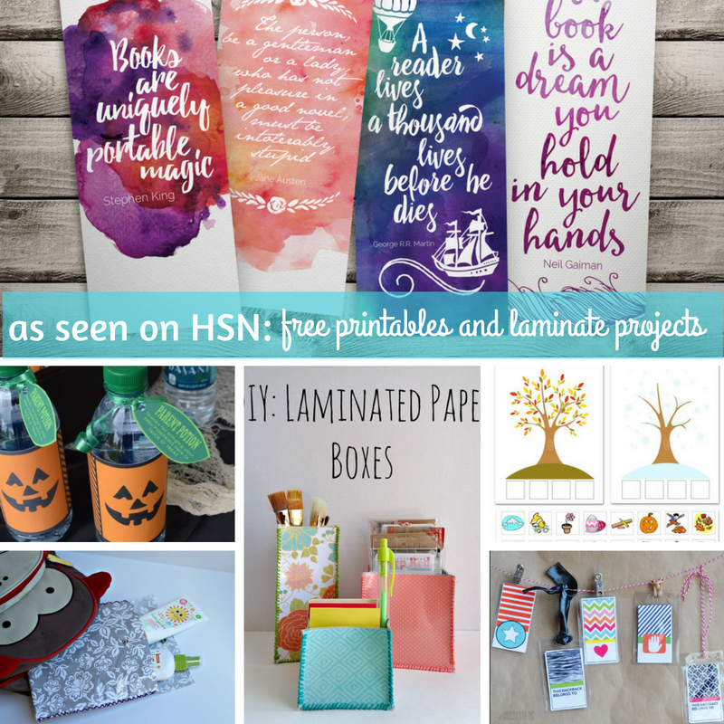 as seen on HSN free printables and laminate projects