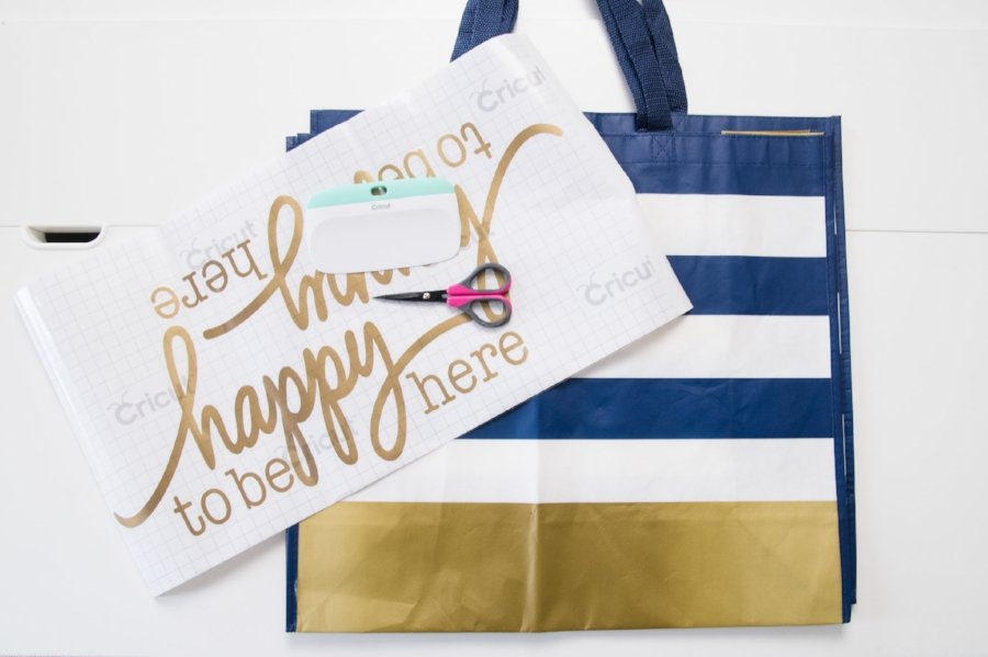 reusable shopping bag with cricut iron on image