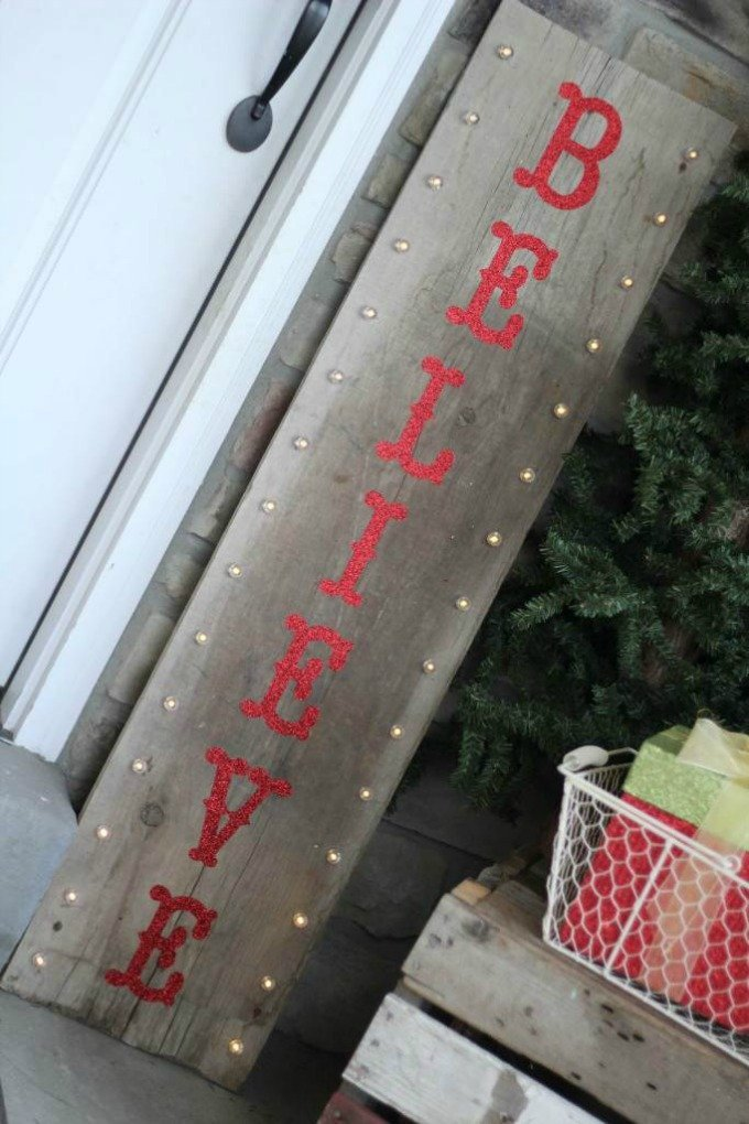 Sugarcoated Housewife wooden believe Christmas sign