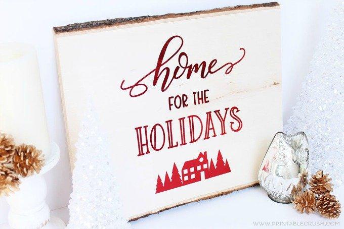 Printable Crush wood Christmas plank home decor
