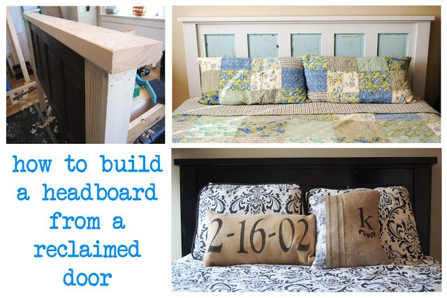 how to build a headboard from a reclaimed door