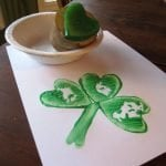 potato painting of four leaf clover