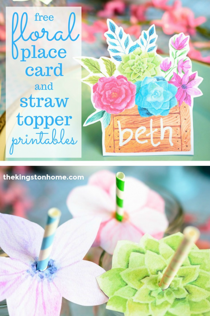 FREE Printables – Floral Place Cards and Straw Toppers - The Kingston Home