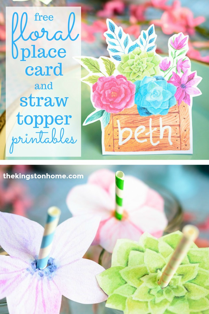 FREE Printables – Floral Place Cards and Straw Toppers - The Kingston Home: Add a floral touch to your next party by creating your own place cards and straw toppers, using these FREE floral printables! via @craftykingstons