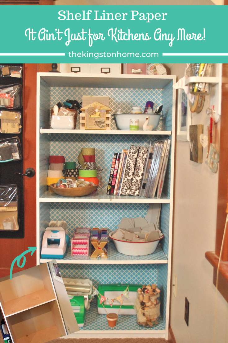 Shelf Liner Paper – It Ain't Just for Kitchens Any More! - The Kingston Home: Learn how to update an old bookcase with just a few coats of spray paint and some pretty shelf liner paper! via @craftykingstons