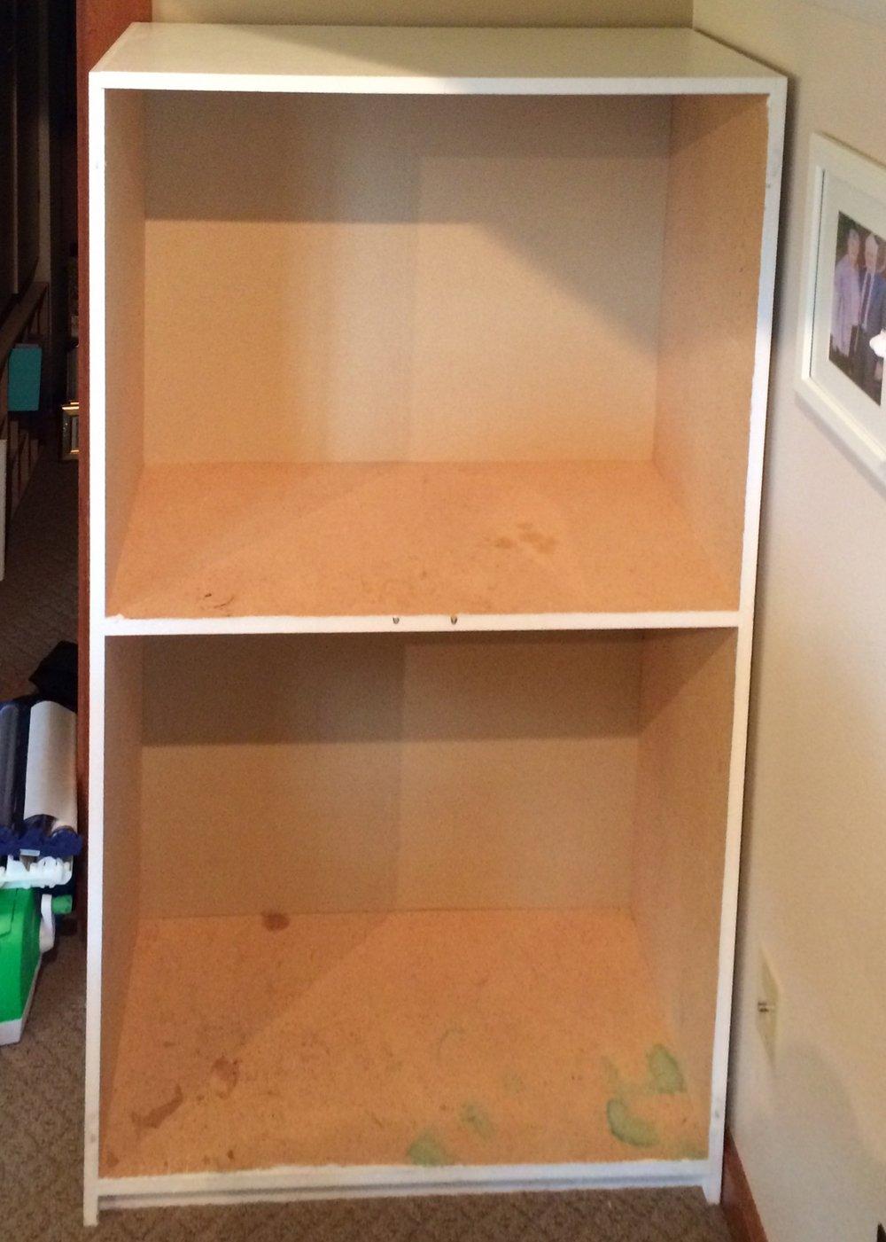 bookshelf in craft room