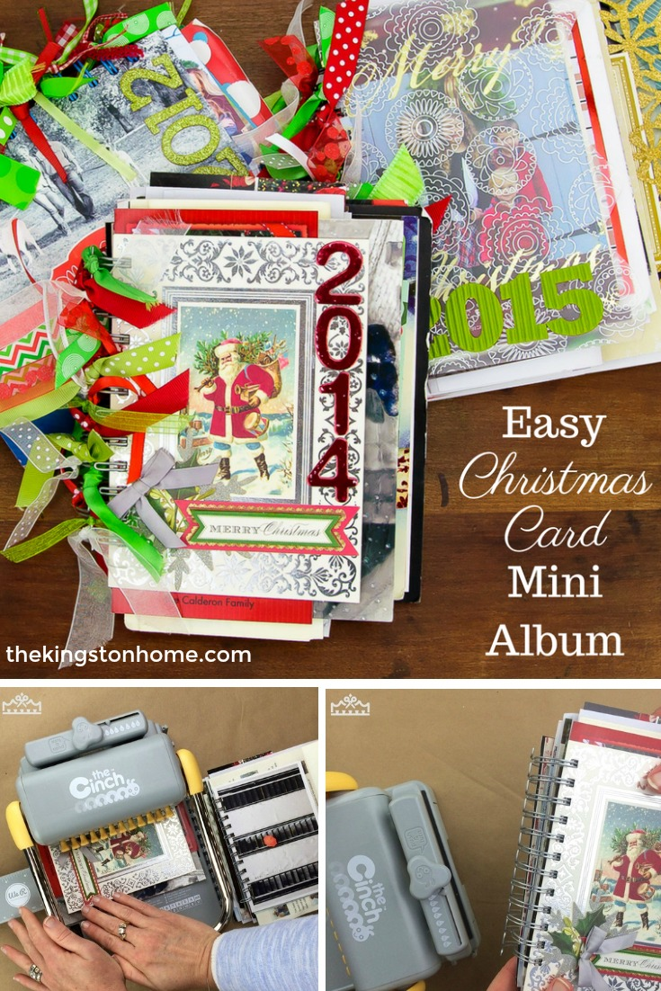 Easy Christmas Card Mini Album - The Kingston Home: With the holiday season over, are you unsure about what you should do with those stacks of Christmas cards? If so, then learn how to transform all of your Christmas cards into a mini album! via @craftykingstons