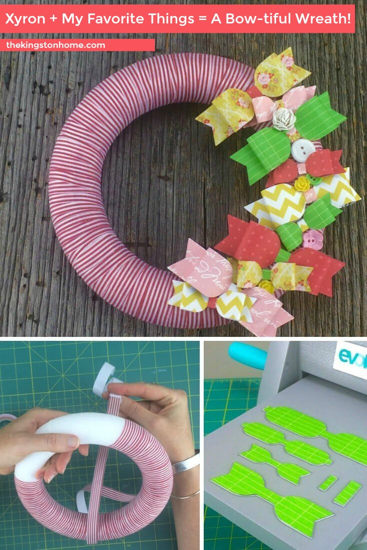 Xyron-My-Favorite-Things-A-Bow-tiful-Wreath-The-Kingston-Home: Learn how to use a set of bow die-cuts from My Favorite Things and Xyron adhesive to turn a plain foam wreath into a cute wreath for spring! via @craftykingstons