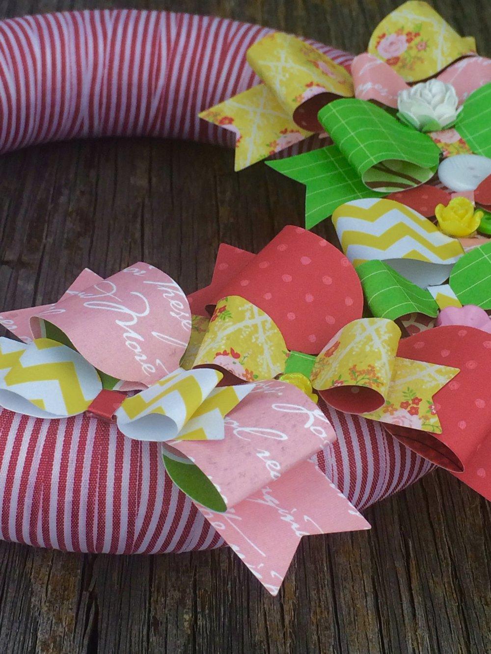 glue bows to foam wreath
