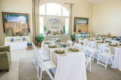 dinosaur party for kids decor with tables and chairs