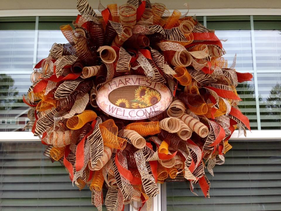 harvest brown and orange ribbon wreath