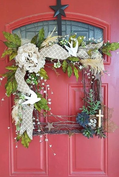 square wreath with flowers and ribbon bow