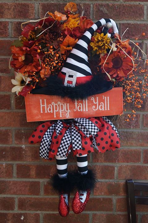 Halloween witch wreath with fabric witch and flowers