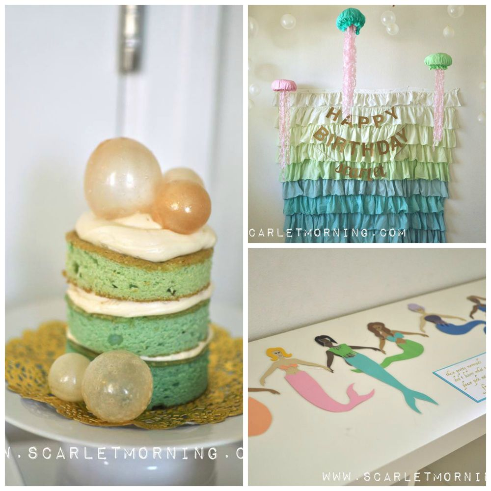 mermaid themed little girls birthday party