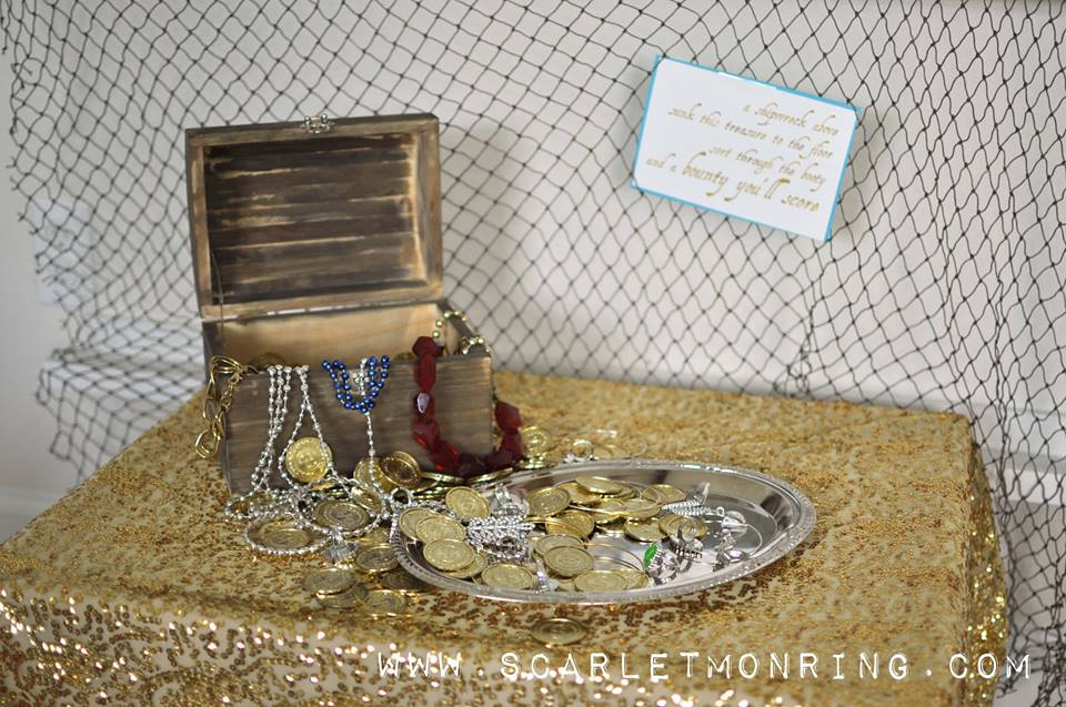 sunken treasure chest full of gold coins with jewelry