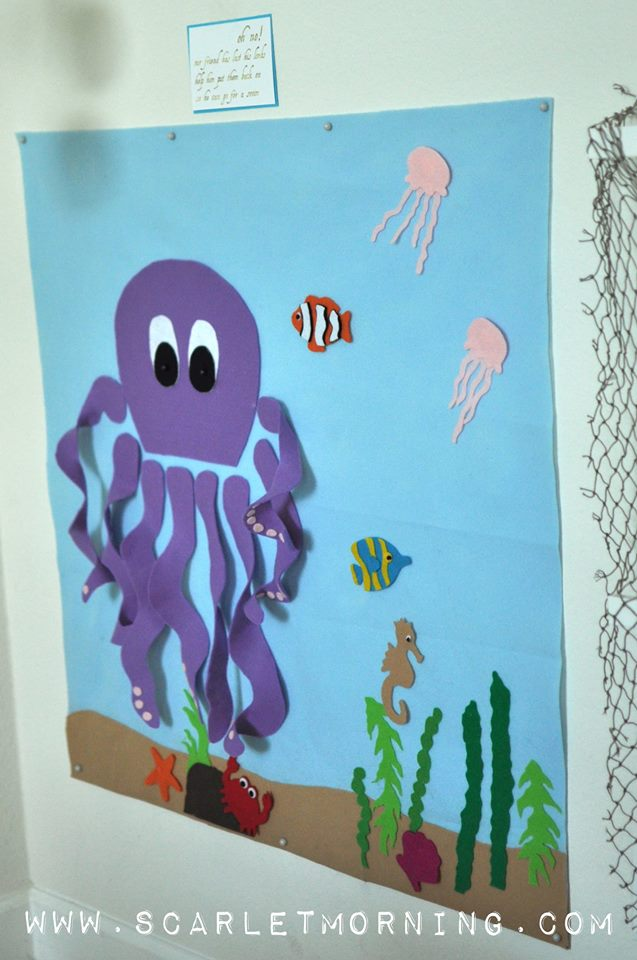 pin the arms on the octopus (which doubled as an arrange the sea scene game, since all of the felt animals were backed with velcro!)