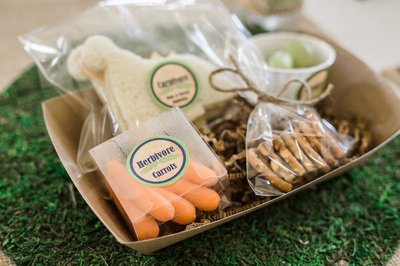 A tray of food, for dinosaur party event