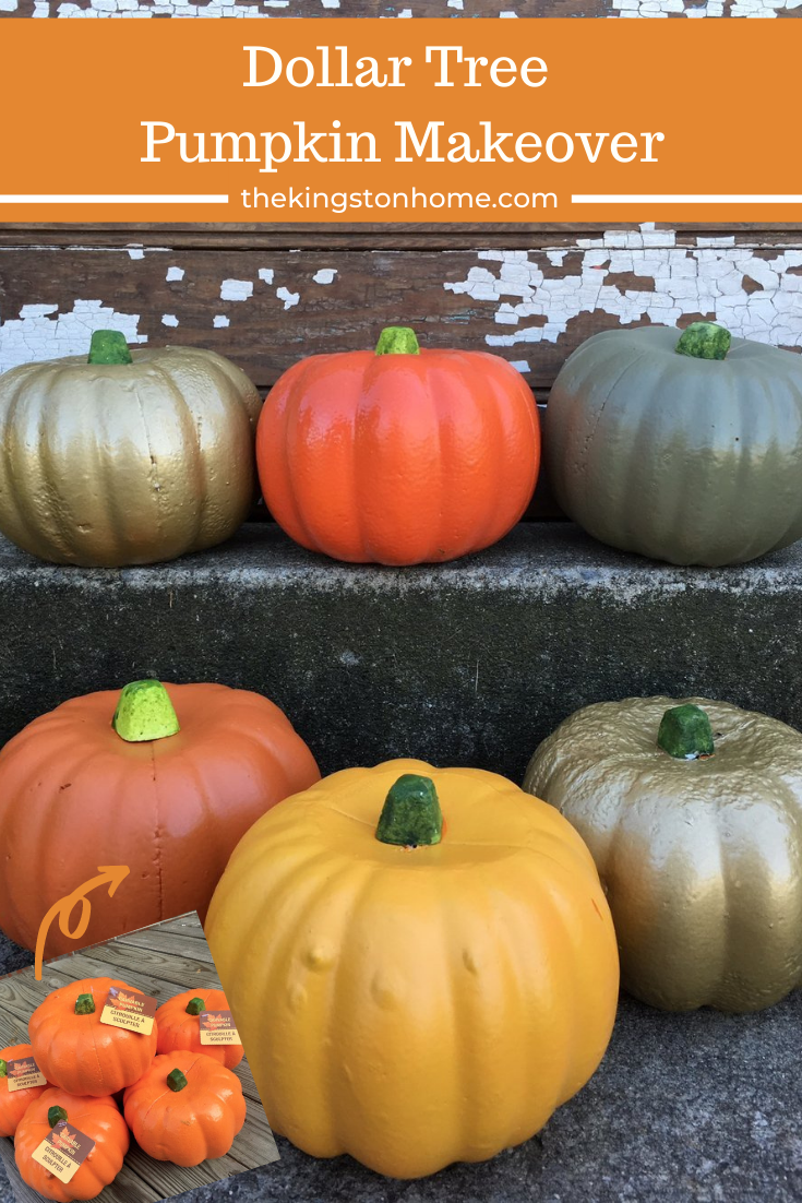 Dollar Tree Pumpkin Makeover - The Kingston Home: Learn how to transform an inexpensive Dollar Tree pumpkin into a fabulous Fall home decor piece, with just a few coats of spray paint! via @craftykingstons