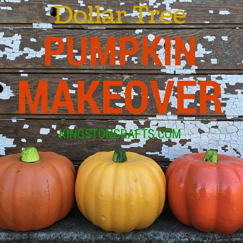 Dollar Tree Pumpkin Makeover - Kingston Crafts