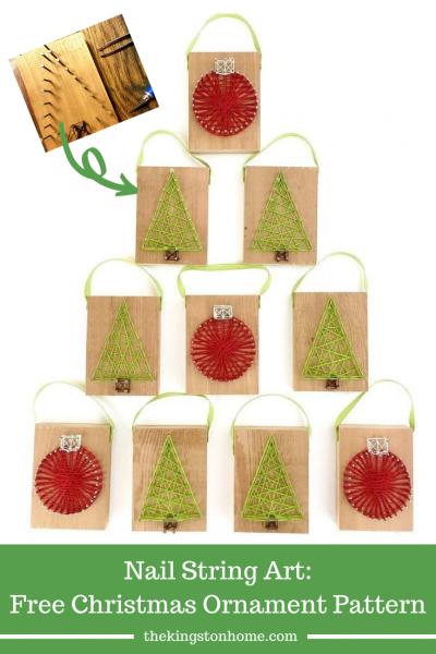 Nail String Art Free Christmas Ornament Pattern - The Kingston Home
