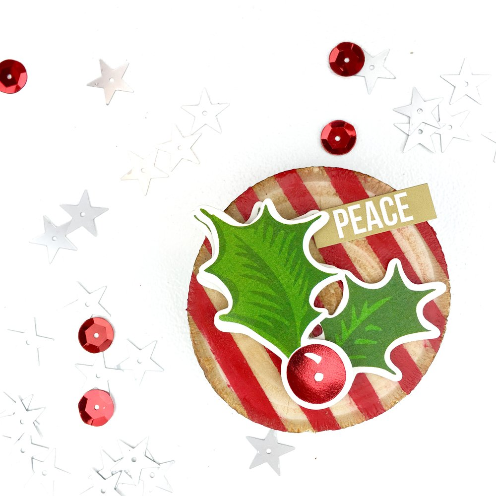holly berry wood slice Christmas ornaments