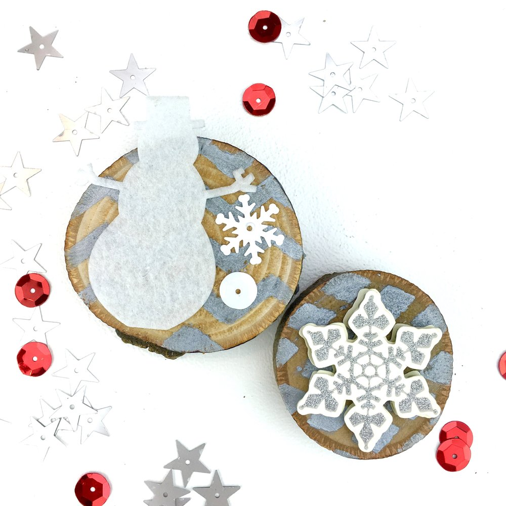 snowman wood slice Christmas ornaments