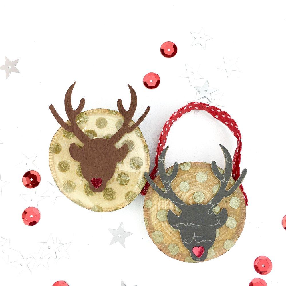 deer wood slice Christmas ornaments