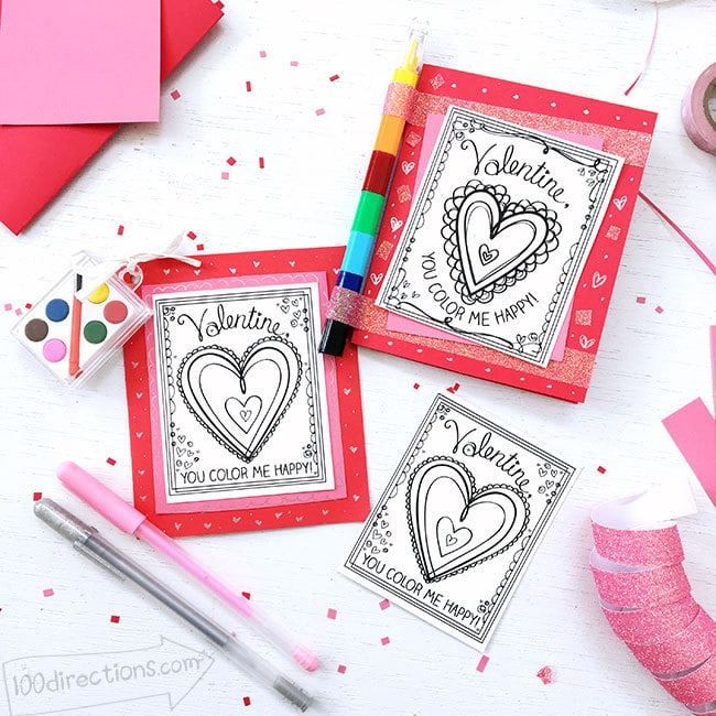 Cute Coloring Valentine Cards by 100 Directions