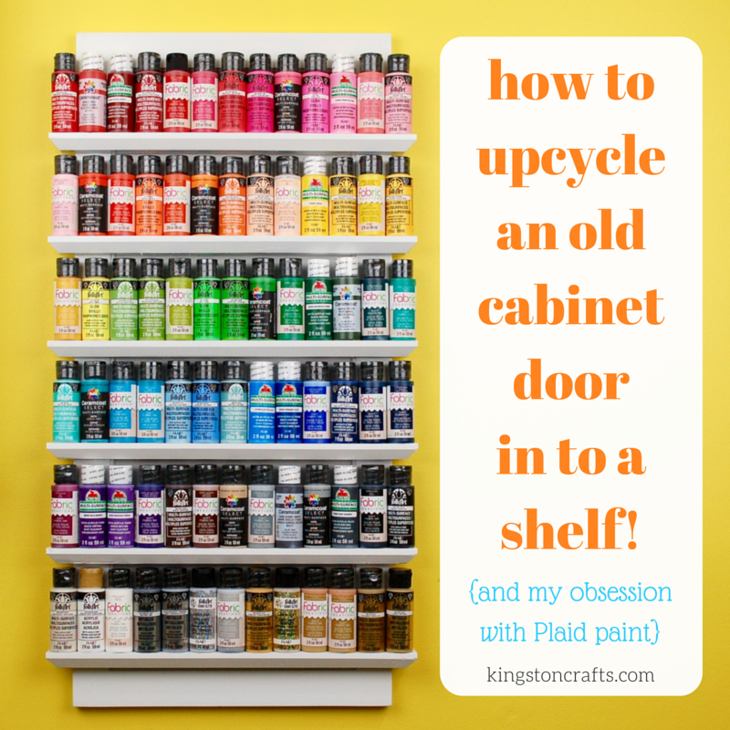 how to upcycle an old cabinet door in to a shelf