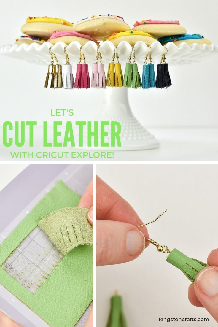 Let's Cut Leather with the New Cricut Explore Air Gold - The Kingston Home: Using a simple Cricut ''life hack'' and some scraps of leather, you can create a set of adorable tassel earrings that are perfect for gift giving! via @craftykingstons