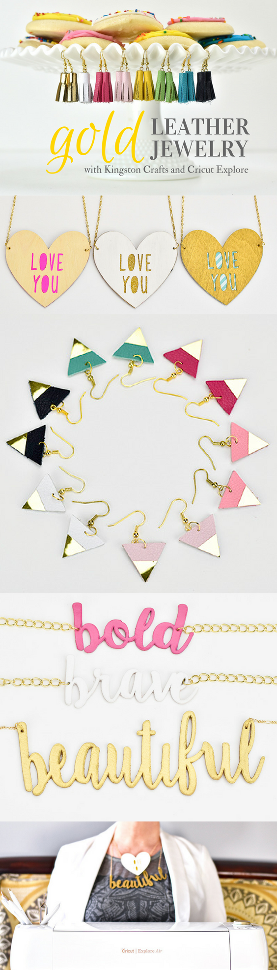 gold leather jewelry made with Cricut explore air gold