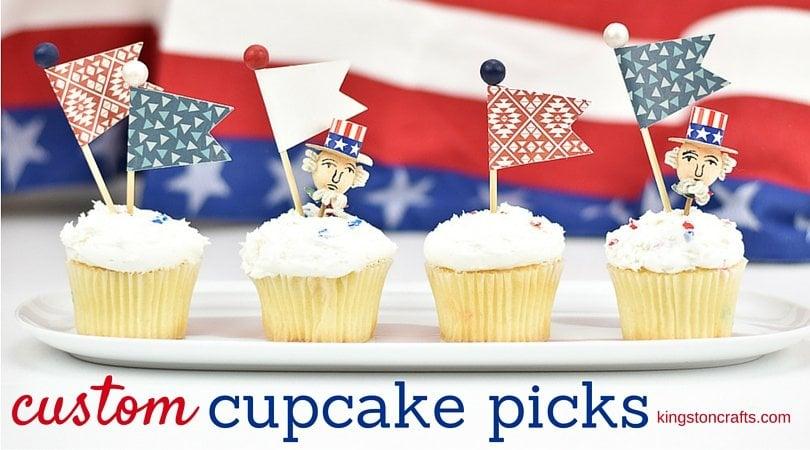 Custom Cupcake Picks 4th of july
