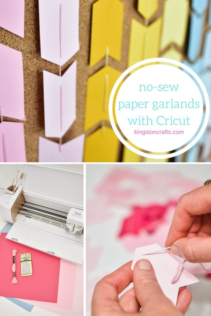 No Sew Paper Garlands (and Drafting Table Makeover) with Cricut! - The Kingston Home: Learn how to use your Cricut machine to turn a few sheets of cardstock and some embroidery floss, into the perfect no-sew paper garland! via @craftykingstons