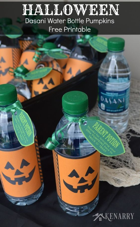 Halloween Dasani Water Bottle Pumpkins Free Printable by Kenarry.com