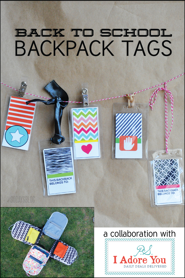 Back to School Backpack Tags by Thirty Handmade