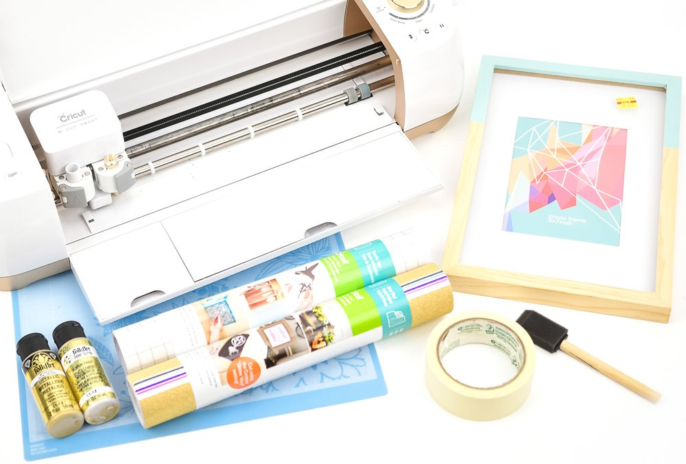 Cricut Explore Air with supplies for wooden frame makeover