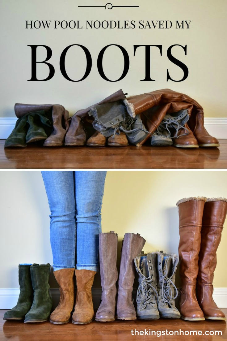 Pinterest Hack – Use Pool Noodles to Organize and Store Your Boots! - The Kingston Home: Learn how an inexpensive pool noodle can help you to organize, store, and give your fall boots some extra support! via @craftykingstons