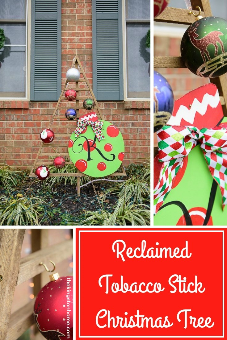 Reclaimed Tobacco Stick Christmas Tree - The Kingston Home: Learn how to create your own reclaimed tobacco stick Christmas tree that can be displayed outside, and be decorated for the holiday season! via @craftykingstons