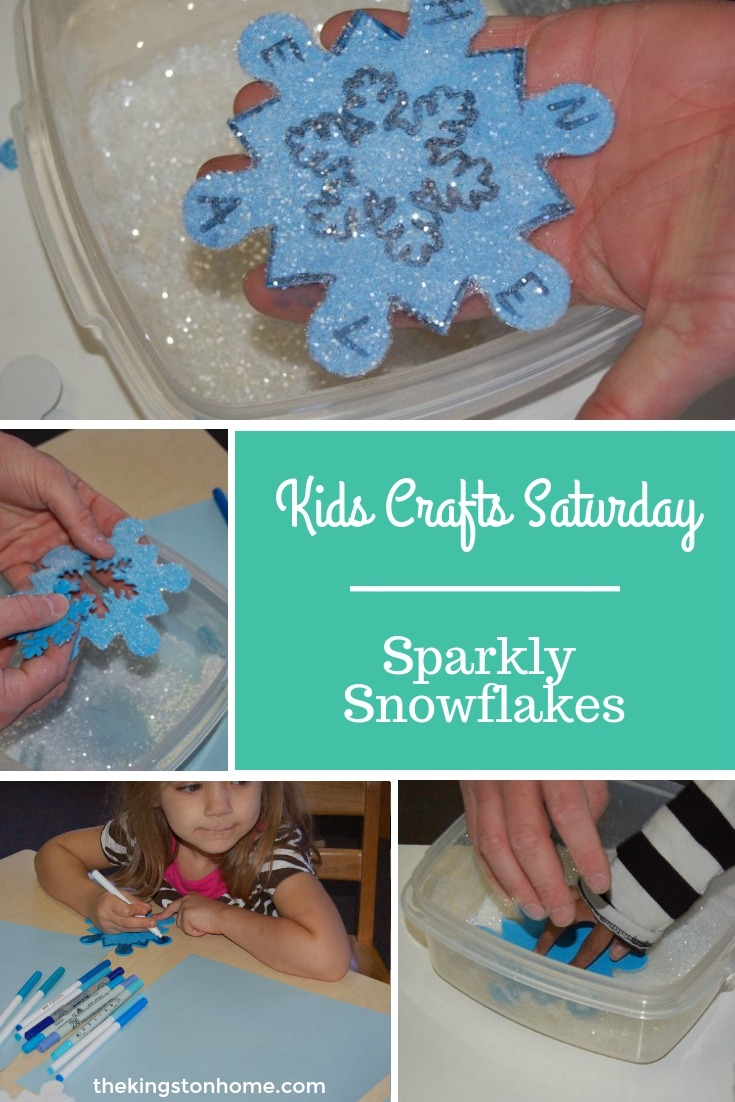 Sparkly Snowflakes – Kids' Crafts Saturday - The Kingston Home: hadnhanfokiNo...today isn't Saturday, but we made these Sparkly Snowflakes on a Saturday - does that count? :) via @craftykingstons
