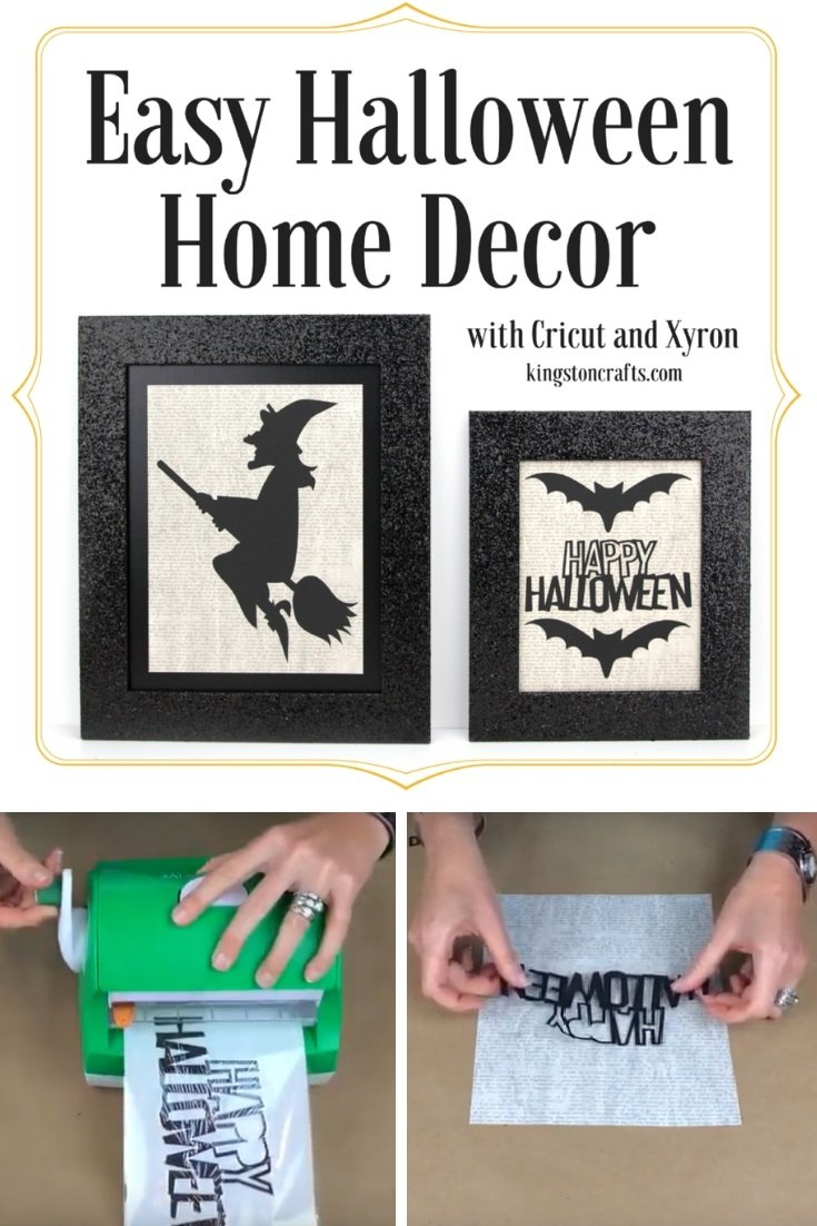 Cricut + Xyron = Easy Halloween Home Décor - The Kingston Home: Learn how to make your own Halloween home decor is less than 20 minutes, by using a simple black frame and a few designs from Cricut! via @craftykingstons