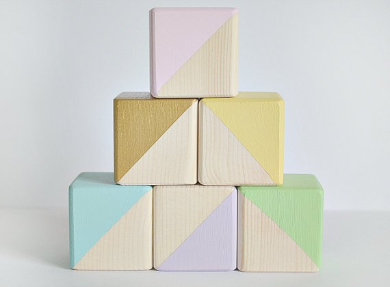 Wooden pastel blocks