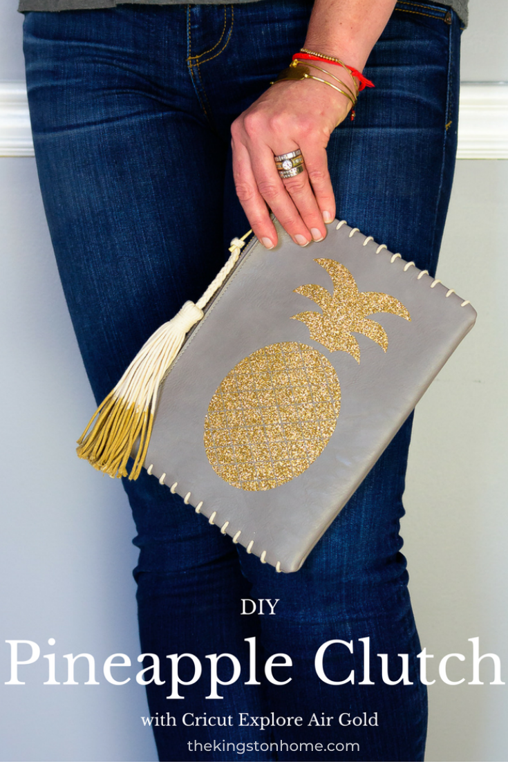 DIY Pineapple Clutch - The Kingston Home: Learn how we turned a Target clearance aisle clutch into a fun and festive pineapple clutch perfect for a night on the town! via @craftykingstons