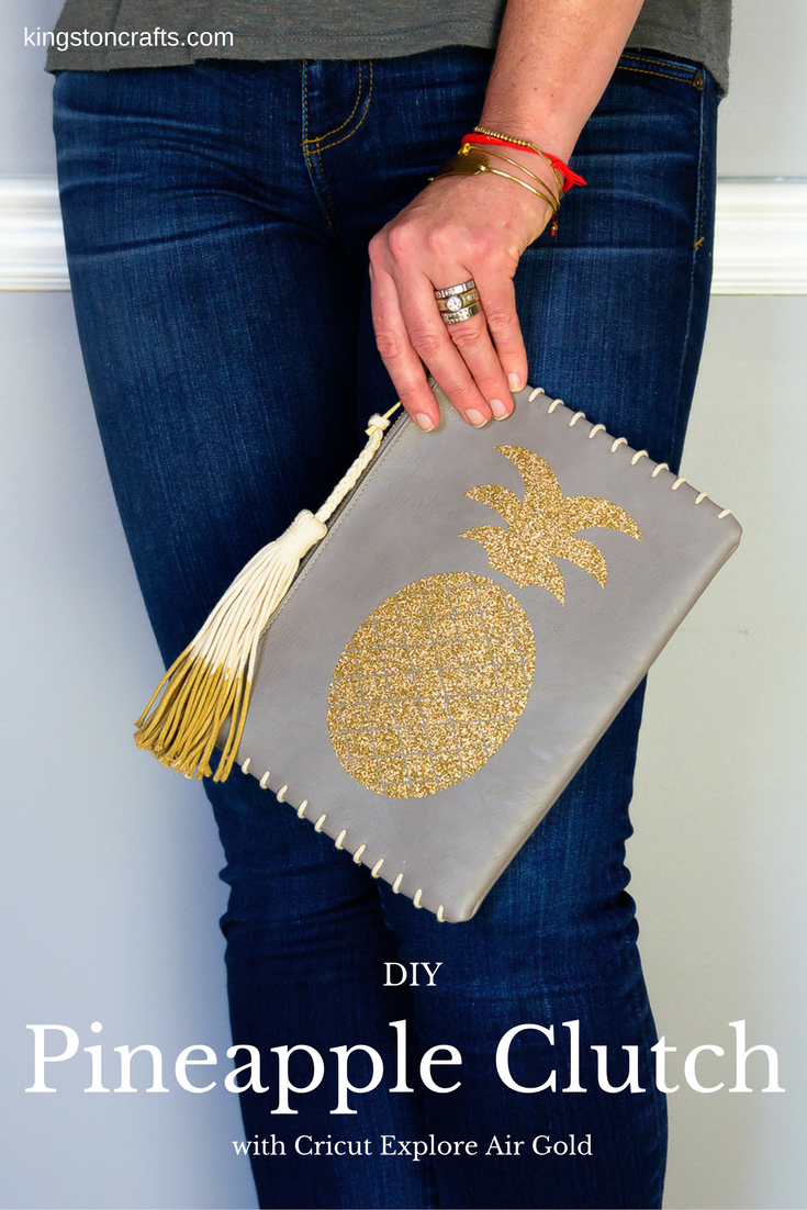 Cricut Explore Gold – DIY Glitter Pineapple Clutch from The Kingston Home