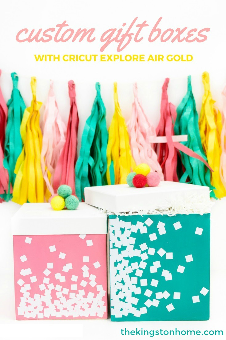 Custom Gift Boxes with Cricut Explore Air Gold - The Kingston Home: Never show up to a party with plain gift boxes again! Learn how to turn white boxes into colorful gift boxes, using the Cricut Explore! via @craftykingstons