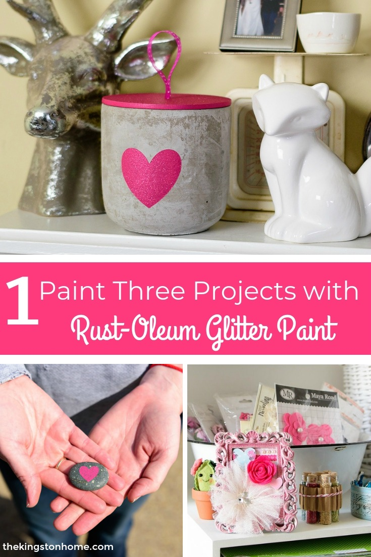 One Paint Three Projects with Rust-Oleum Glitter Paint - The Kingston Home: Learn how you can take one can of glitter spray paint and use it to create 3 unique projects, just in time for Valentine's or Galentine's Day! via @craftykingstons