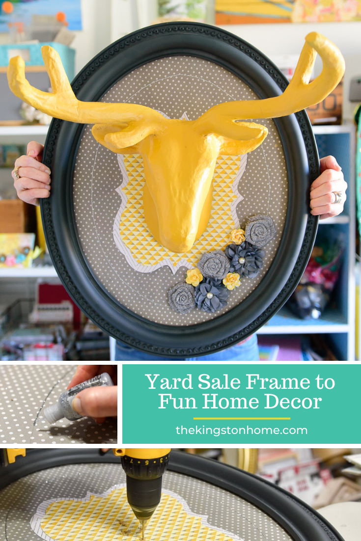 yard sale frame to fun home decor